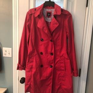 Coral Red Gap Trench Coat